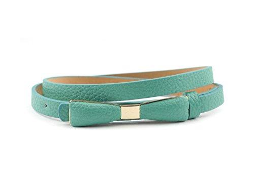 NYfashion101 Stylish Faux Leather Skinny Belt with Gold Tone Mini Bow Accent (Medium, TURQUOISE)