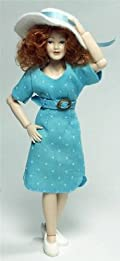 Heidi Ott Dolls House Doll, Lady in a Modern Blue Dress