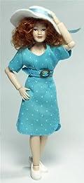 Heidi Ott Dolls House Doll, Lady in a Modern Blue Dress
