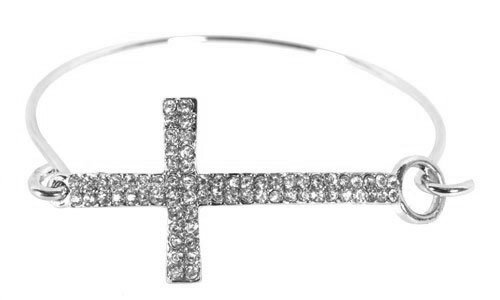 Silver Iced Out Cross Bangle Bracelet