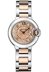 Cartier Silver Dial 18kt Rose Gold and Stainless Steel Ladies Watch WE902052