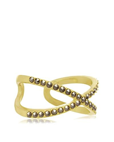 Adoriana Yellow Gold-Plated Marcasite X Ring