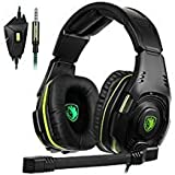 SADES SA-938 Multi-Platform Gaming Headset with Mic 3.5MM Jack in-LINE Volume Control Over-Ear Headphones PC/PS4/Smartphones (Color: SA938 black)