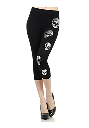 Metallic Skull Printed Fashion Stretch Capri Leggings - One Size