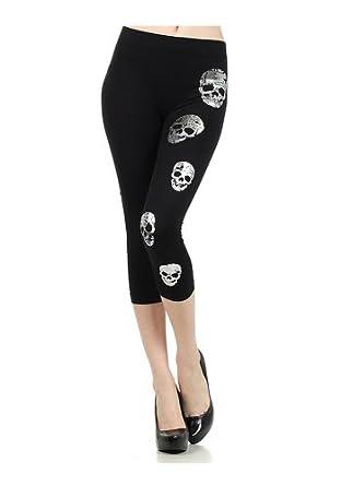 Metallic Skull Printed Fashion Stretch Capri Leggings - One Size