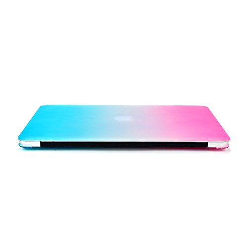 """Mosiso MacBook Air 13 Case, Soft-Touch Plastic See Through Hard Shell Snap On Case Cover for MacBook Air 13.3"""" (A1466 & A1369) (Rainbow) with One Ye"""