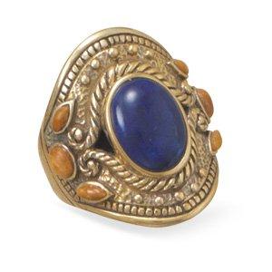 Multistone Ornate Bronze Ring / Size 8