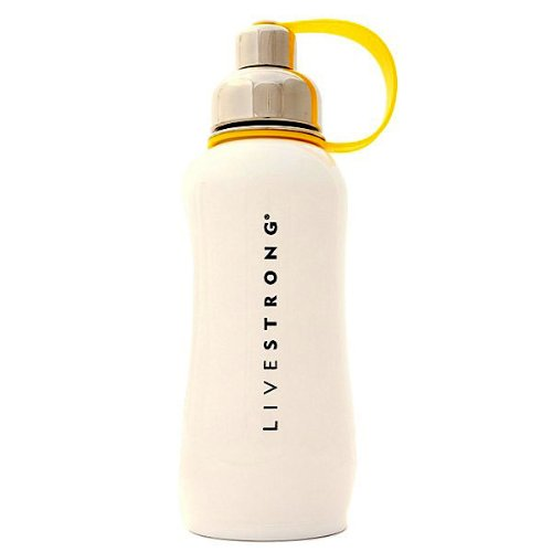 Thinksport Livestrong 750-Milliliter Insulated Stainless Steel Sports Bottle (White)