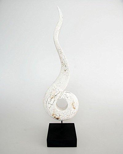 """Complemento d'arredo grande """"Cho Fa"""" in legno massiccio, 60cm, 16x12x62 cm, Legno, Bianco"""