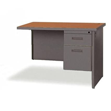 "Lorell 67000 Series Durable Desk Return - 48"" Width x 24"" Depth - 1, 1 Drawer - Single Pedestal on Left Side - Radius Edge - Steel - Cherry Top"
