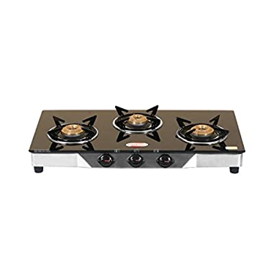 Brightflame 3 Burner Black Gas Stove & Pressure Cooker 3 Ltr Stainless Steel