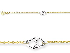 10 Inches 3 Double Hearts Adjustable Ankle Bracelet in 14 kt Yellow Gold