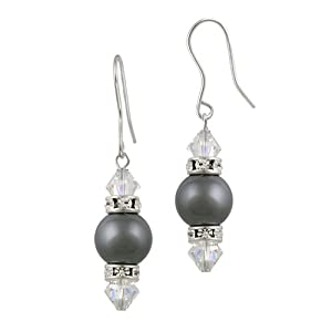 Sterling Silver Dark Grey and Clear Swarovski Genuine Crystallized Elements and Crystal Simulated Pearl Drop French Wire Earrings