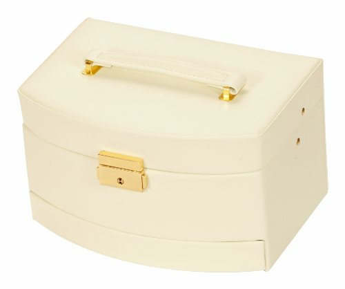 Mele & Co Ivory Bonded Leather Auto Drawer Jewellery Case