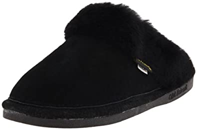 Old Friend Women's Scuff Wide Moccasin, Black, Small/5-6 W US