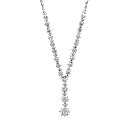 "224-Stone 5-Carat Tw. Diamond Flower Necklace - 14K White Gold with 18"" Herringbone Chain - Timeless Treasures Jewelry"