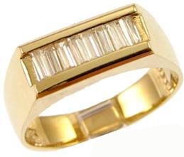 Yellow Gold Plated, Classic Signet Band Style Ring For Men Guy Gent With Brilliant Lab Created Gems