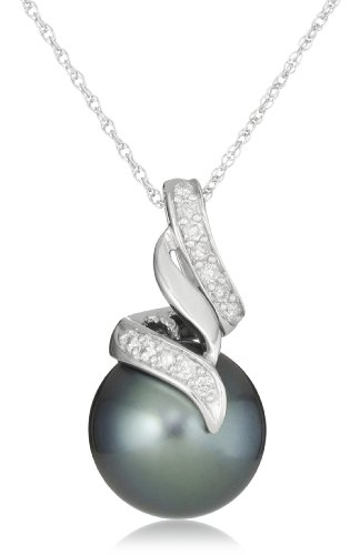 10k Gold Tahitian Cultured Pearl  Diamond Accent
