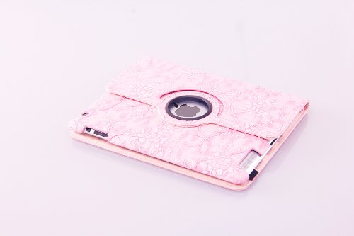 360 Degree Rotating Stand (Pink Flower) Luxury Leather Smart Case Cover Automatically Wake up Sleep for Apple the New ipad 3