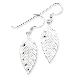 Earrings Sterling Silver Diamond Cut Leaf Wire