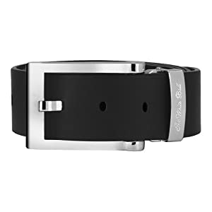 The White Ball Men's White Gold Pride Buckle with Genuine Italian Leather 35mm Strap, Black