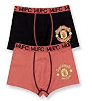 2 Pack Cotton Rich Manchester United Football Club Trunks