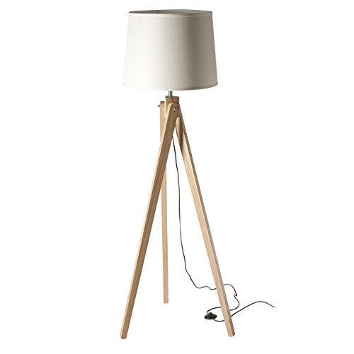Torciera retro con piantana legno paralume bianco 1-lamp E27 1x60W 230V