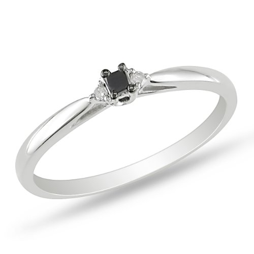Sterling Silver 0.07 CT TDW Black and White Diamond Engagement Black Rhodium Plated Ring (G-H, I3)