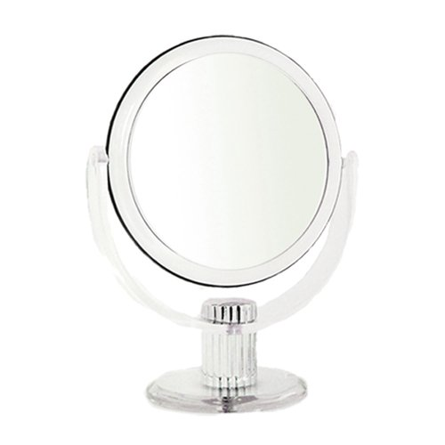 Rucci 5x Magnification and Normal View Clear Acrylic Stand Mirror, Large, 7 inch