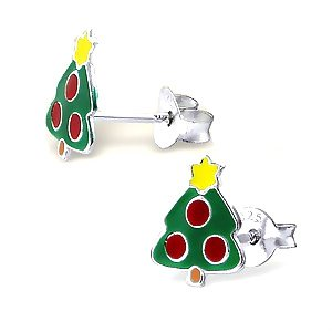 Adorable Christmas Tree Sterling Silver Childrens Earrings Post/stud