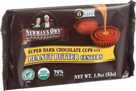Newman's Own Organics - Super Dark Chocolate Cups with Peanut Butter Centers - 1.9 oz.pack of 2