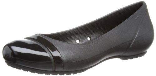 Crocs Women'S 12300 Cap Toe Flat,Black/Black,10 W Us front-955611