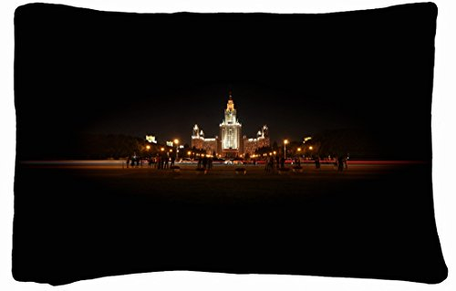 Microfiber Peach Queen Size Decorative Pillowcase -City Moscow Msu Night Lights front-696616