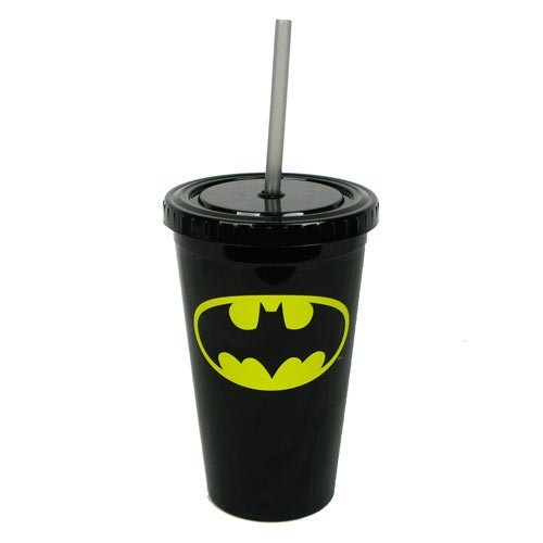 DC Comics Acrylic Cold Cup With Lid & Straw - Batman Logo - 1