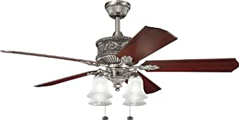Kichler Lighting 300161AP Corinth 52-Inch Ceiling Fan, Antique Pewter Finish with Reversible Light/Dark Cherry Blades and Integrated Light Kit