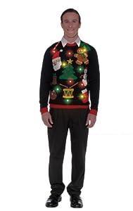 Forum Novelties Adult Everything Light-Up Ugly Christmas Sweater, Multi, Medium