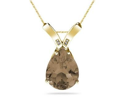 Smokey Quartz Pear Shape & Diamond Pendant in 10K Yellow Gold