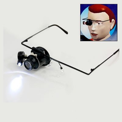 Glasses Type 20X Watch Repair Magnifier with LED Light
