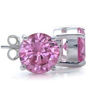 8MM Round Shape Pink CZ 925 Sterling Silver Stud Earrings