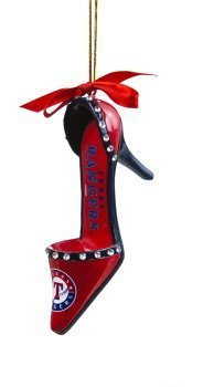 MLB Licensed Texas Rangers Team Shoe Ornament with Ribbon