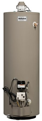 """Reliance Water Heater Natural Gas 40 Gal. 120 V 64-1/4 """" H X 20 """" Dia"""