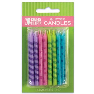 Oasis Supply Glitter Stripe/Dot Birthday Candles, 2.75-Inch - 1