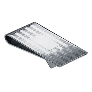 Sterling Silver Engraveable Striped Money Clip