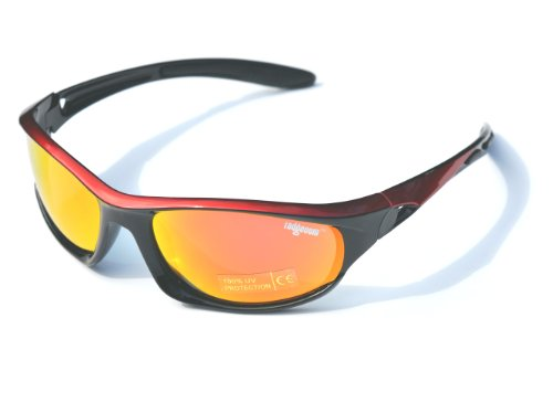 Red & Black Ladgecom Polarised Sports Sunglasses with Revo Lens and Hard Case Picture