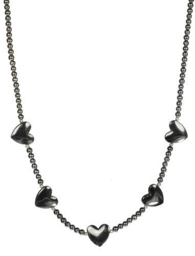 Hematite Strand with Hematite Heart Accents Necklace 18