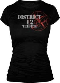 The Hunger Games - Tribute Spray Juniors T-Shirt (Small/Black)