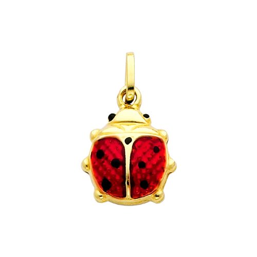 14K Yellow Gold Lady Bug Enamel Charm Pendant