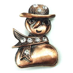 Clear Austrian Rhinestone Christmas Snowman Copper-Tone Brooch Pin / Pendant