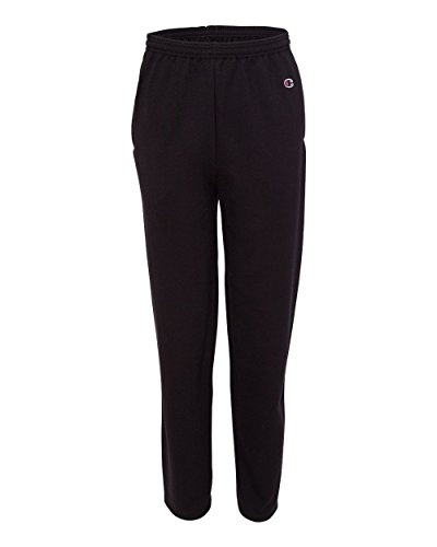 Champion P800 Adult Double Dry Eco Open-Bottom Fleece Pants with Pockets - Black, Large