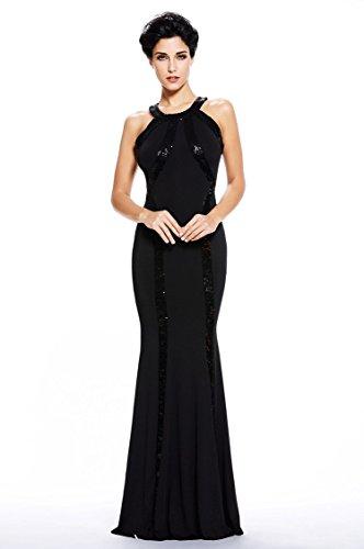 Montmo Women's Gorgeous Jersey Sequin Trim Evening Dress Long Gown (Black) S